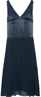 By Malene Birger Carrol Pleated Chiffon And Satin Midi Dress - Storm blue
