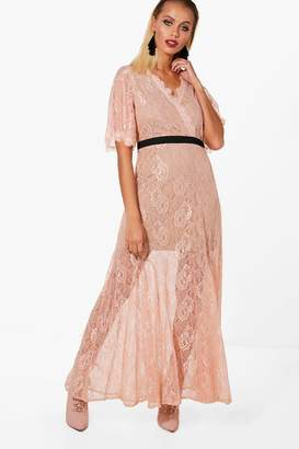 boohoo Boutique May Lace Angel Sleeve Maxi Dress