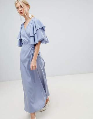 Vero Moda Flutter Sleeve Wrap Maxi Dress
