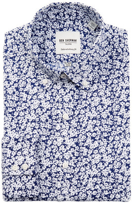 Ben Sherman Blue & White Floral Print Tailored Skinny Fit Dress Shirt $98.50 thestylecure.com
