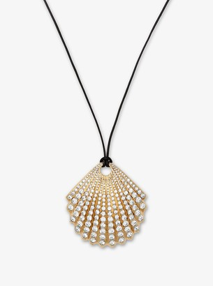 Michael Kors Gold-Tone Pave Seashell Necklace