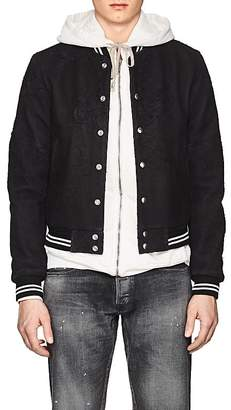 John Elliott Men's Yuji Distressed Leather Varsity Jacket
