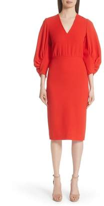Lela Rose Wool Blend Crepe Full Sleeve Dress