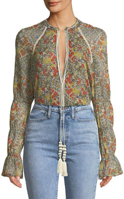 Alexis Samera Floral Long-Sleeve V-Neck Top