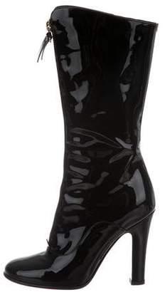 Valentino Round-Toe Zip-Up Mid-Calf Boots