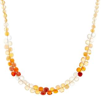 Colors of Fire Opal Bead Necklace, Sterling