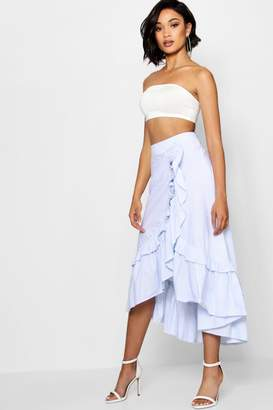 boohoo Woven Tiered Frill Stripe Maxi Skirt