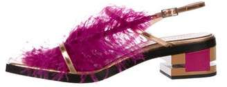 Emilio Pucci Feather-Trimmed Metallic Sandals w/ Tags