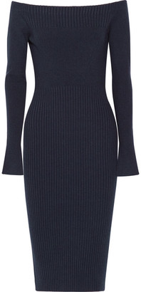 Jason Wu - Off-the-shoulder Ribbed Stretch Wool-blend Dress - Navy $1,295 thestylecure.com