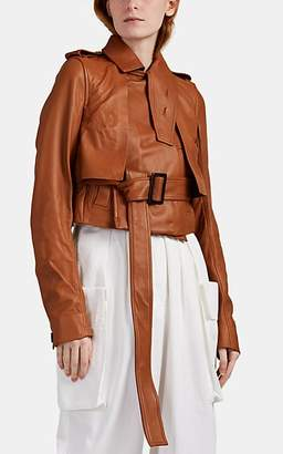 Rick Owens Women's Lambskin Crop Trench Jacket - Rust