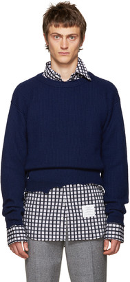 Raf Simons Navy Wool Destroyed Sweater $610 thestylecure.com