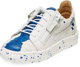 Giuseppe Zanotti Snake-Embossed Leather Paint Splatter Low-Top Sneakers, Toddler