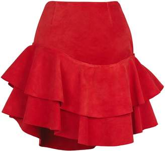Siobhan Molloy - Lashes Red Calf Suede Skirt