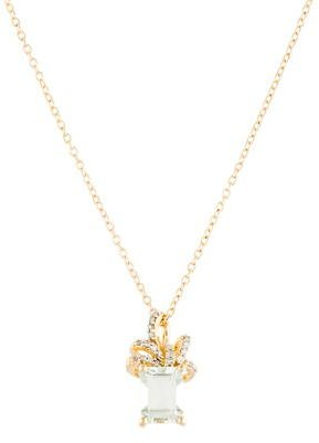Laura Ashley Green Amethyst & Diamond Bow Pendant Necklace $145 thestylecure.com