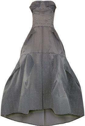 Maticevski Black & White Entrapment Strapless Gown