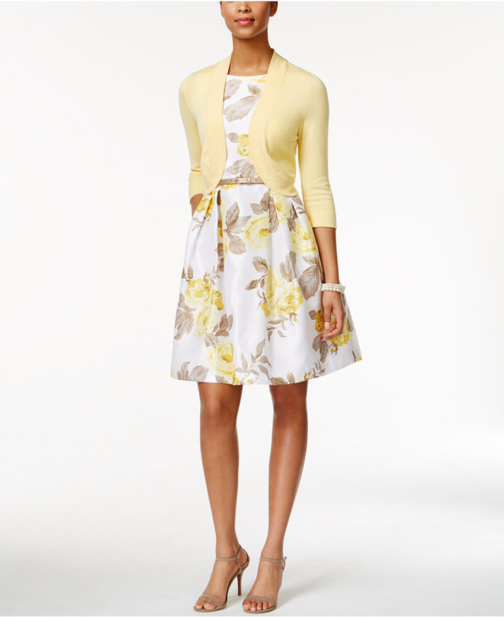 Jessica Howard Belted Floral-Print Fit & Flare Dress and Cardigan