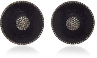 Antonia Miletto 18K Blackened Gold And Ebony Wood Brown Diamond Disc Earrings