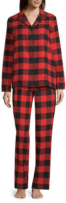 SLEEP CHIC Sleep Chic Notch Collar Flannel Pajama Set- Talls