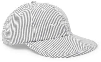 Pop Trading Company Embroidered Striped Cotton-Seersucker Baseball Cap