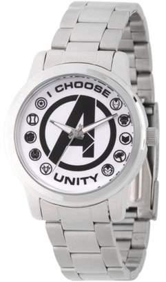 Marvel Classic Men's Avengers Logo, Captain America, Black Widow, Hulk, Ant-Man, Falcon, Wasp, Thor, Hawkeye, Black Panther, Iron Man Silver Alloy Watch, Stainless Steel Bracelet