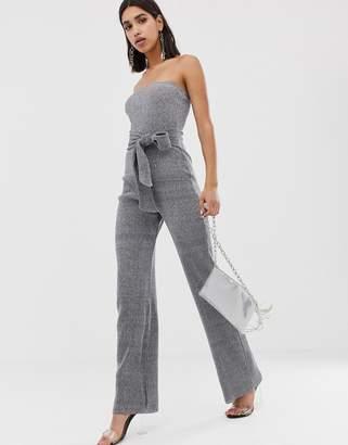 PrettyLittleThing glitter bandeau wide leg jumpsuit with tie waist in silver