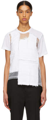 Comme des Garcons White Multifabric Mix Tulle T-Shirt