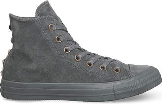 Converse high-top studded suede trainers