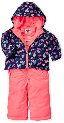 Osh Kosh B'gosh (Toddler Girls) Two-Piece Hearts Hooded Jacket & Snow Bib Set