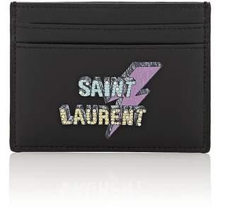 Saint Laurent MEN'S LOGO LEATHER CARD CASE
