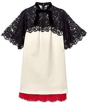 Gucci Women's Short Sleeve Lace Trim Jersey Dress