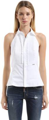 DSQUARED2 Halter Neck Frilled Cotton Poplin Shirt