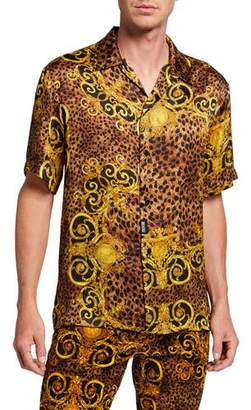 Versace Men's Leopard Baroque Short-Sleeve Sport Shirt