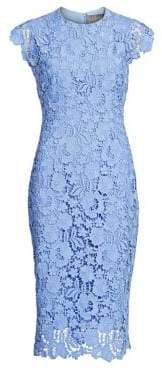 Lela Rose Women's Short Sleeve Lace Sheath Dress - Sky - Size 10