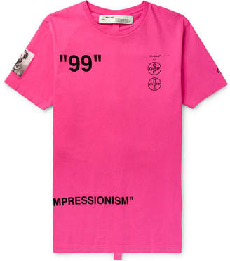 Off-White Slim-fit Printed Cotton-jersey T-shirt - Pink