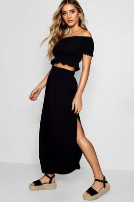 boohoo Shirred Bardot Top Maxi Skirt Co-ord Set