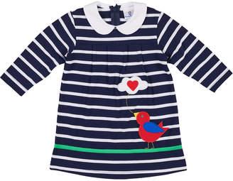 Florence Eiseman Bird Tweeting Striped Long-Sleeve Dress, Size 6-24 Months