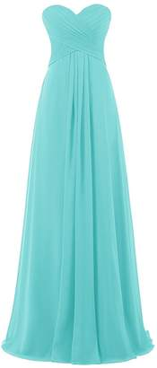 Anlin Women's Long Pleated Empire Flowy Draped Formal Bridesmaid Prom Gown US
