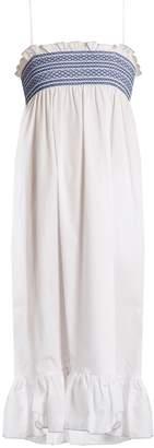 Lisa Marie Fernandez Embroidered smocked cotton slip dress