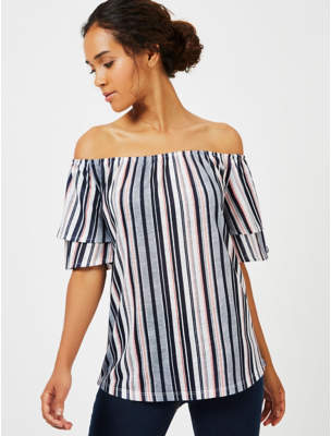 George Striped Bardot Top