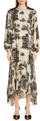 Johanna Ortiz Toile Palm Print Long Sleeve Maxi Dress
