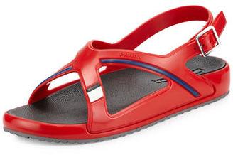 Prada Crisscross Colorblock Rubber Sandal $320 thestylecure.com