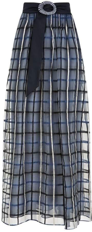 Armani Collezioni Check Organza Skirt, White, UK 8