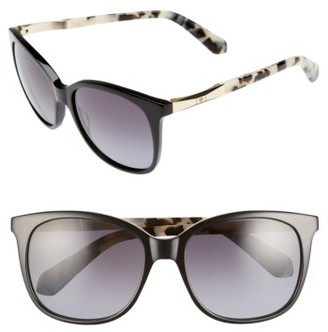 Women's Kate Spade New York Julieanna 54Mm Polarized Sunglasses - Black Havana $200 thestylecure.com