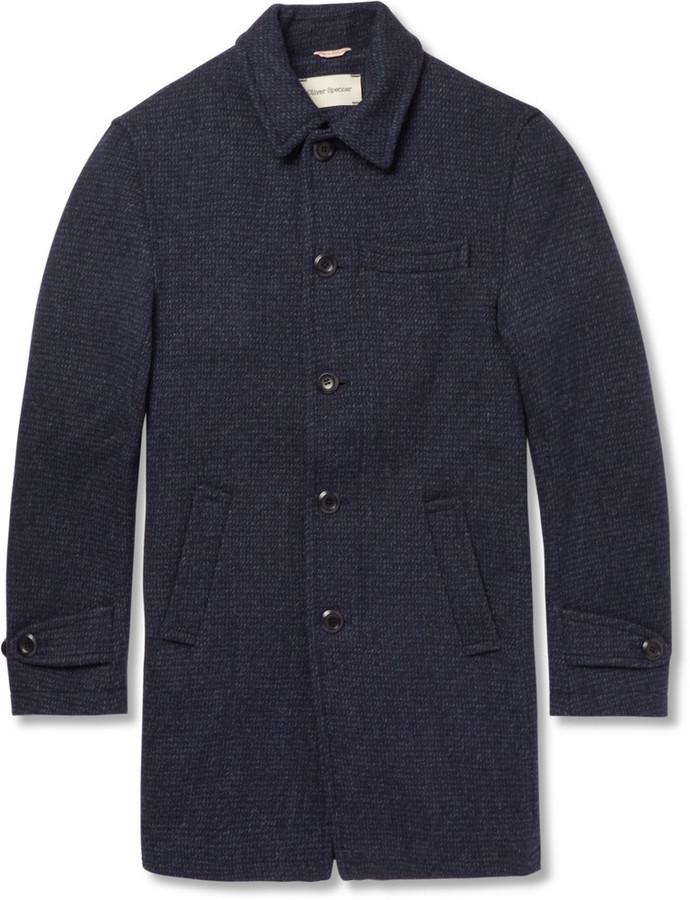 Oliver Spencer Woven-Wool Overcoat