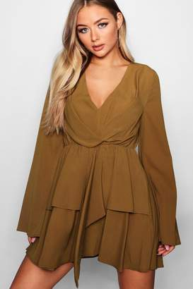 boohoo Wide Sleeve Knot Front Hanky Hem Skater Dress