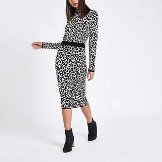 River Island Grey leopard print knit midi skirt