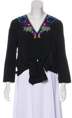 Matthew Williamson Embroidered Tie Blouse w/ Tags