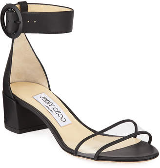 Jimmy Choo Jaimie Leather and PVC Block-Heel Sandals
