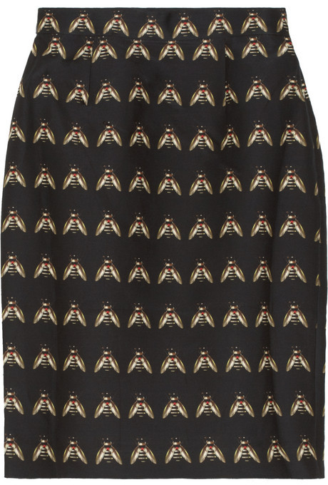 Mother of Pearl Ursula insect-print cotton-blend skirt