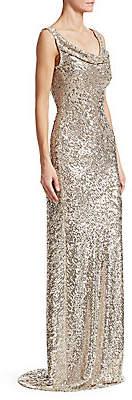 Naeem Khan Women's Cowlneck Allover Sequin Column Gown